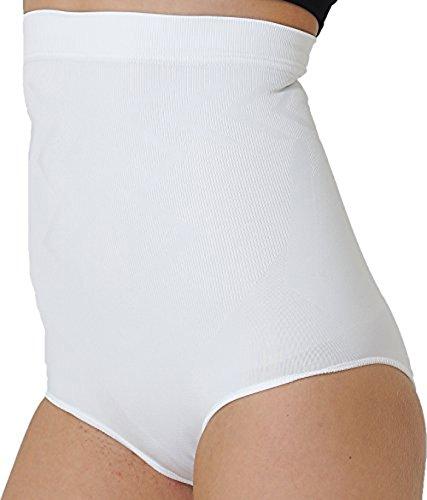 Formeasy Damen Figurformender Miederslip ohne Bein, bauchhoch - Bauchweg Unterhose Bauch Weg Slip Shapewear (M, Weiss)