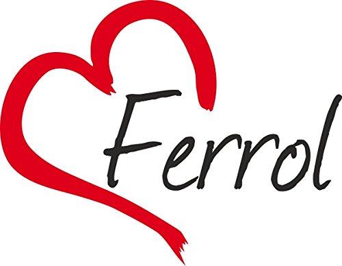 """Vinilo Adhesivo para el coche o la moto """" FERROL """" (Ciudad) corazón Sticker ca.9x11cm Pegatina sin fondo"""