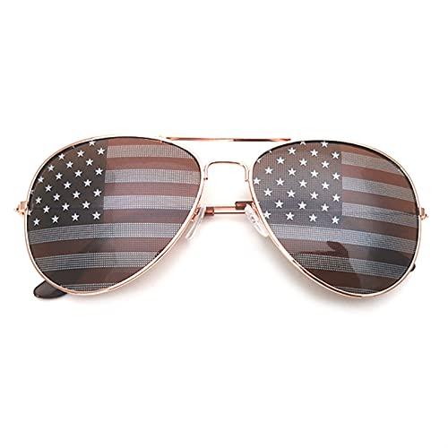 KANGDILE Día de la Independencia Bandera Estadounidense Aviator Sunglasses Square Style Memorial Day Patriotic Sunglasses Decoración Regalo para el 4 de Julio (Size : C)