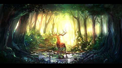 keletop 1000pcs Rompecabezas de Madera_Forest Animal Fantasy Art Wallpaper_Puzzle Juego de Juguete de Montaje de Regalos para niños_50x75cm