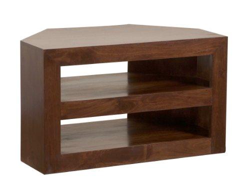 HOMESCAPES Dakota Dark Wood Corner TV Unit For Living Room Solid Mango Wood Television Stand With Shelves (No Veneer)