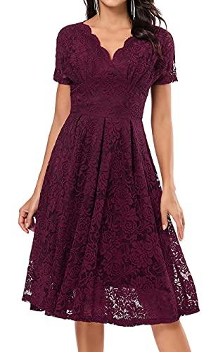 LA ORCHID Laorchid Damen Kleider Knielang Spitzenkleid elegant Vintage Retro Rockabilly Kleid cocktailkleid v Ausschnitt Abendkleider Partykleid...