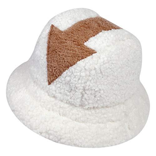 Qianpuren Avatar Appa Eimer Hut Niedlicher Winter Lamm Wolle Fischerhut Geeignet für Frauen Mädchen Männer