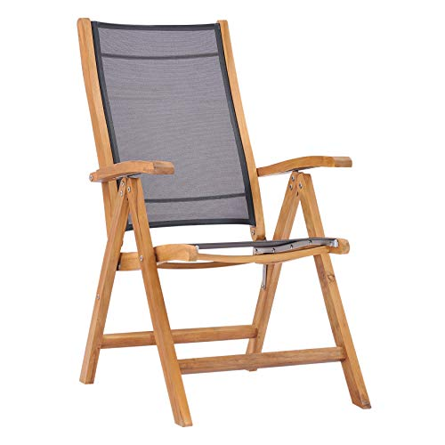 UKN California Teak Wood Reclining Chair with Black Sling Traditional Hand Waxed Water Resistant Weather