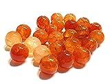 Natural Crackle Dragon Veins - Pietre di agata, pietre preziose, colore rosso e arancione, 6/8/10 mm, per gioielli fai da te (8 mm, 15 pezzi)