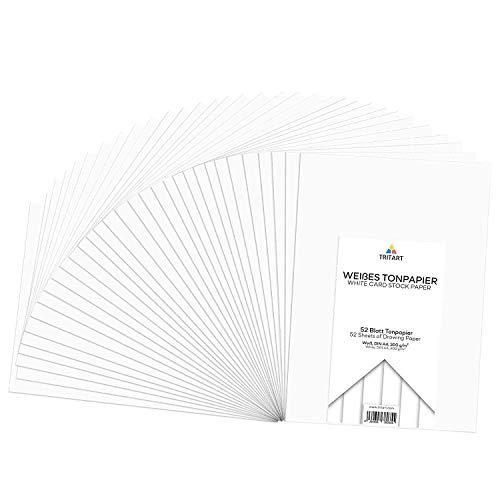 Tonpapier Weiß A4 300g I 52 Blatt Bastelpapier I Kreativ Zeichenpapier zum Basteln und Malen I Zeichenkarton I DIY Tonzeichenpapier Weiß