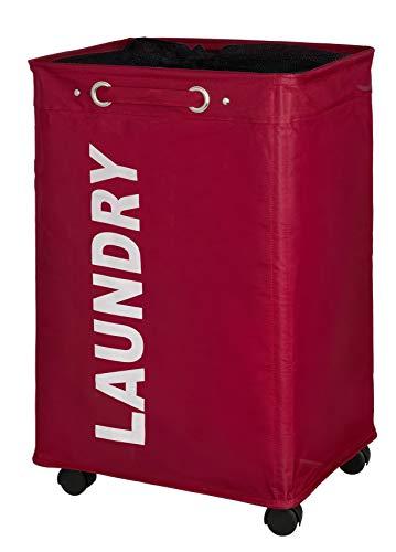 Wenko Wäschesammler Quadro rot, stabiler Wäschekorb, Wäschetonne mit Rollen, Wäschetruhe mit Griff, 100% Polyester, Fassungsvermögen 79 L, 140 x 60 x 33 cm