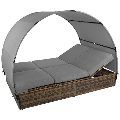 Montafox Sonnenliege Polyrattan Doppelbett 200 x 140 cm Sonnendach Rücken/Fußelemente 5-Fach höhenverstellbar Gartenliege Doppelliege, Farbe:Schwarz-Braun meliert/Kieselstrand
