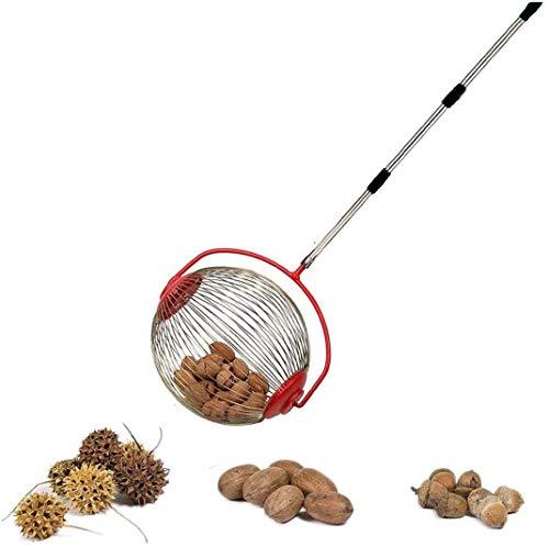 Grandkli Nut Gatherer Nut Harvester Picker Tool Nut Gatherer Rolling Nut Harvester Ball Picker Adjustable Lightweight Outdoor Manual Tools Long Handle Tool Picks up Balls, Pecans, Crab Apples
