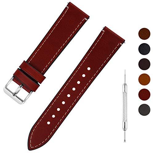 Fullmosa Uhrenarmband Leder mit Schnellverschluss, Wax Oil Serie in 20mm,Dunkelbraun+Silber Schnalle