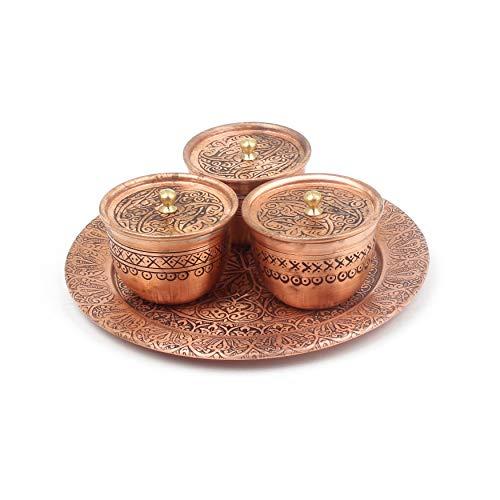 Kräuter- und Gewürz-Set: 3-teiliges Kupfernes Gewürzset mit Tablett   Gewürz-Servierset aus Gehämmertem Kupfer   Schöne Behälter für die Gewürzlagerung oder Präsentation