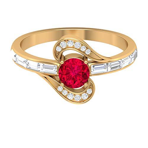 Anillo de rubí creado en laboratorio de 5,00 mm, anillo de diamante Baguette HI-SI, anillo solitario con piedras laterales, anillo de derivación de oro (calidad AAAA), 14K Oro amarillo, Size:EU 52