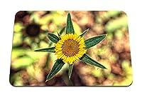 22cmx18cm マウスパッド (花黄色の葉がクローズアップをぼかし) パターンカスタムの マウスパッド