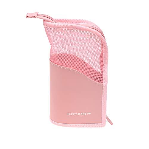 DOITOOL Bolsa de maquiagem translúcida de malha para cosméticos, estojo para caneta com zíper, bolsa de armazenamento para lápis (rosa) bolsa de armazenamento para viajantes
