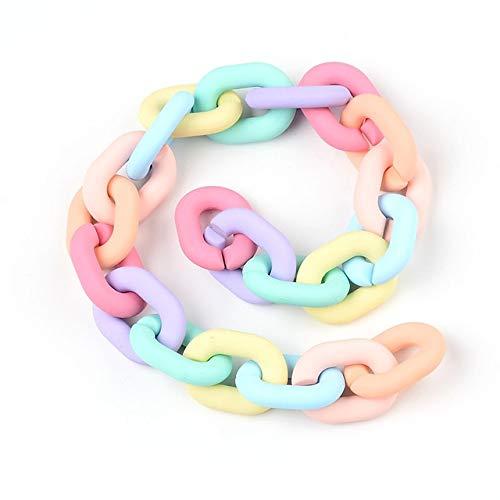FEIZAI 40CM Color Candy Chain DIY Cadena Material Plástico Hecho a Mano Encantos Joyería Hacer DIY Pulsera Collar Bolsa Teléfono Diseño