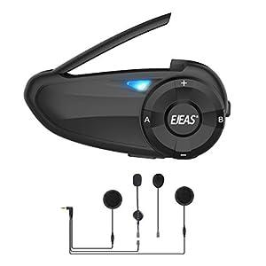 Interfono Moto Bluetooth 1200 m Interfono in Tempo Reale Auricolare Casco Moto 6 Motociclisti Riduzione del rumore DSP Impermeabilità (Q7)