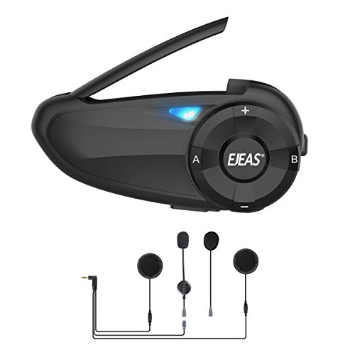 EJEAS Q7 Intercom - Auriculares Bluetooth para Moto, hasta 7 Conductores, cancelación de Ruido CVC, FM, Bluetooth 5.0, Impermeable, Sistema de comunicación para Moto