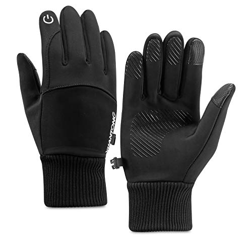 Kasimir Outdoor Handschuhe Doppelt Wasserdicht Touchscreen Handschuhe Kalte Winterhandschuhe Wasserfeste Anti-Rutsch Fahren Radfahren Männer Frauen Schwarz L