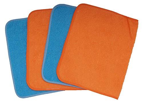Ti TIN - Pack de 4 Toallas de Guardería Rizo Toalla 90% Algodón - 10% Poliéster, 40x70 cm, Colores Azul y Naranja