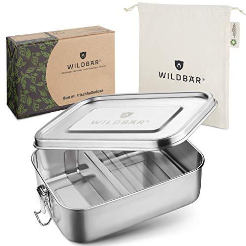 WILDBÄR® - Premium Edelstahl Brotdose mit Fächern - extra auslaufsichere und stabile Lunchbox [800ml] - BPA-frei - für Dein gesundes Essen zum Mitnehmen - Kinder, Sport, Outdoor oder Büro