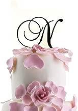 Monogram Inital Letter Acrylic Cake Topper Wedding A B C D E F G H I J K L M N O P Q R S T U V W X Y Z & (N, Black)