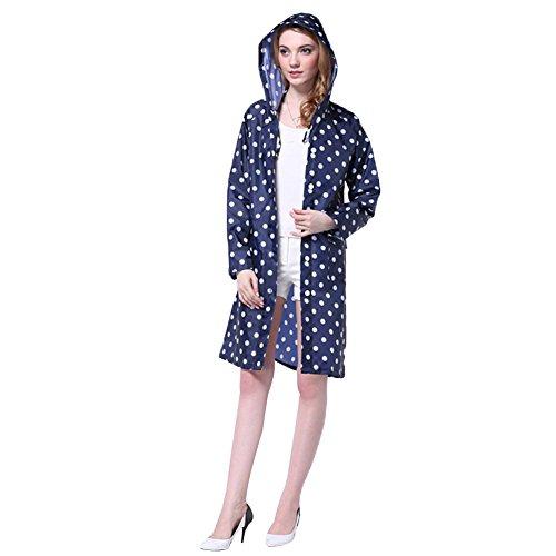 LOSORN ZPY Damen Regenmantel Raincoat mit Kapuze Mädchen Tupfen Wasserdicht Punkten Regenjacke (M, Blau)