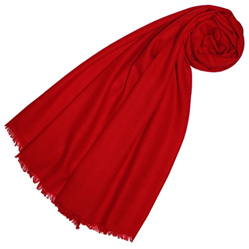 LORENZO CANA Luxus Pashmina Damen Schal Schaltuch 100% Kaschmir leicht kuschelweich Kaschmirschal Kaschmirtuch Kaschmirpashmina einfarbig rot