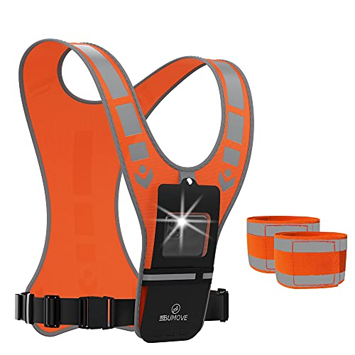 BUMOVE Reflective Running Vest with Cell Phone Pocket for Women Men Kids, Visible Safe Ultralight Gear Belt for Night Cycling Walking Jogging Hiking + 2 Arm/Ankle Bands (Orange)
