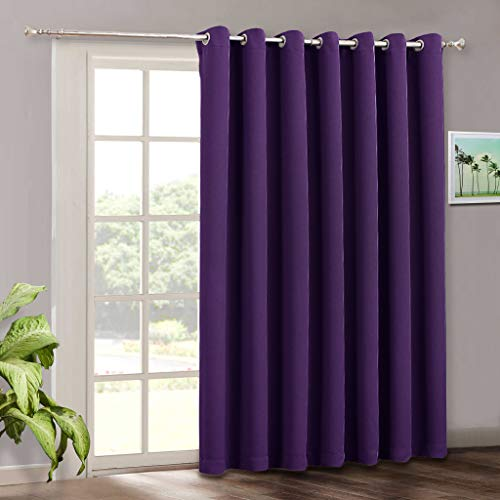 RYB HOME Large Curtains Privacy - Temporary Room Darkening Window Treatment Panels Vertical Blind for High Ceiling Window Decor Room Divider Apartment Spare Bedroom, 100 x 108, Purple