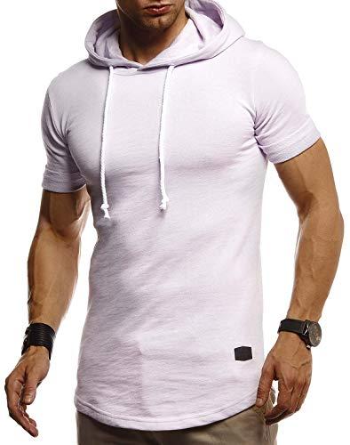 Leif Nelson Herren Sommer T-Shirt mit Kapuze Slim Fit Baumwolle-Anteil Cooles Basic Männer T-Shirt Kapuzenshirt Jungen Kurzarmshirt Kurzarm Lang LN8317 Purple Large
