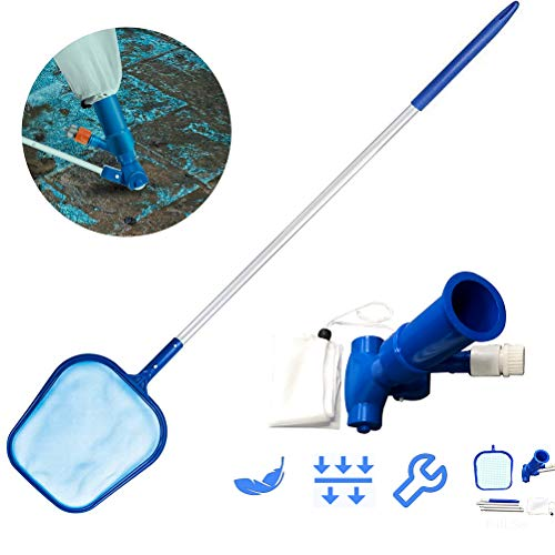 Aspirateur de piscine, kit de nettoyage de piscine avec poteau télescopique Aspirateur de bassin Kit de nettoyage de piscine avec filet d'atterrissage Accessoires de piscine pour piscines
