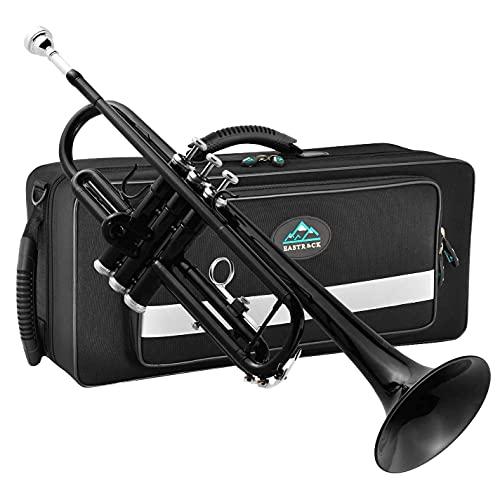 EastRock Trompeta negra Sib Trompeta estándar de latón con estuche rígido, guantes, tela, boquilla 7C, instrumentos musicales para estudiantes principiantes