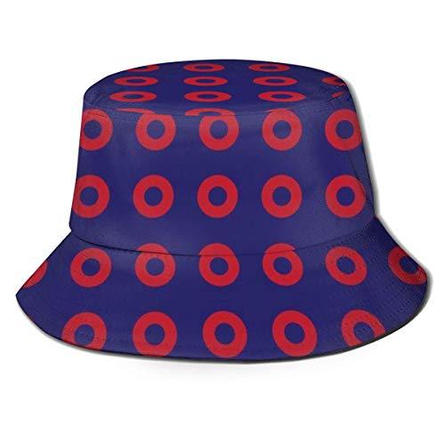 XZZJHY Back to School Gorra de béisbol unisex para pescador, Phish - Círculos de rosquilla roja sobre sombrero de pescador azul, M