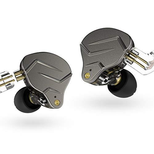 KZ ZSN Pro Metal Earphones 1BA+1DD Hybrid Technology HiFi Bass Earbuds in Ear Monitor Headphones Sport Noise Cancelling Headset(with mic,Grey)