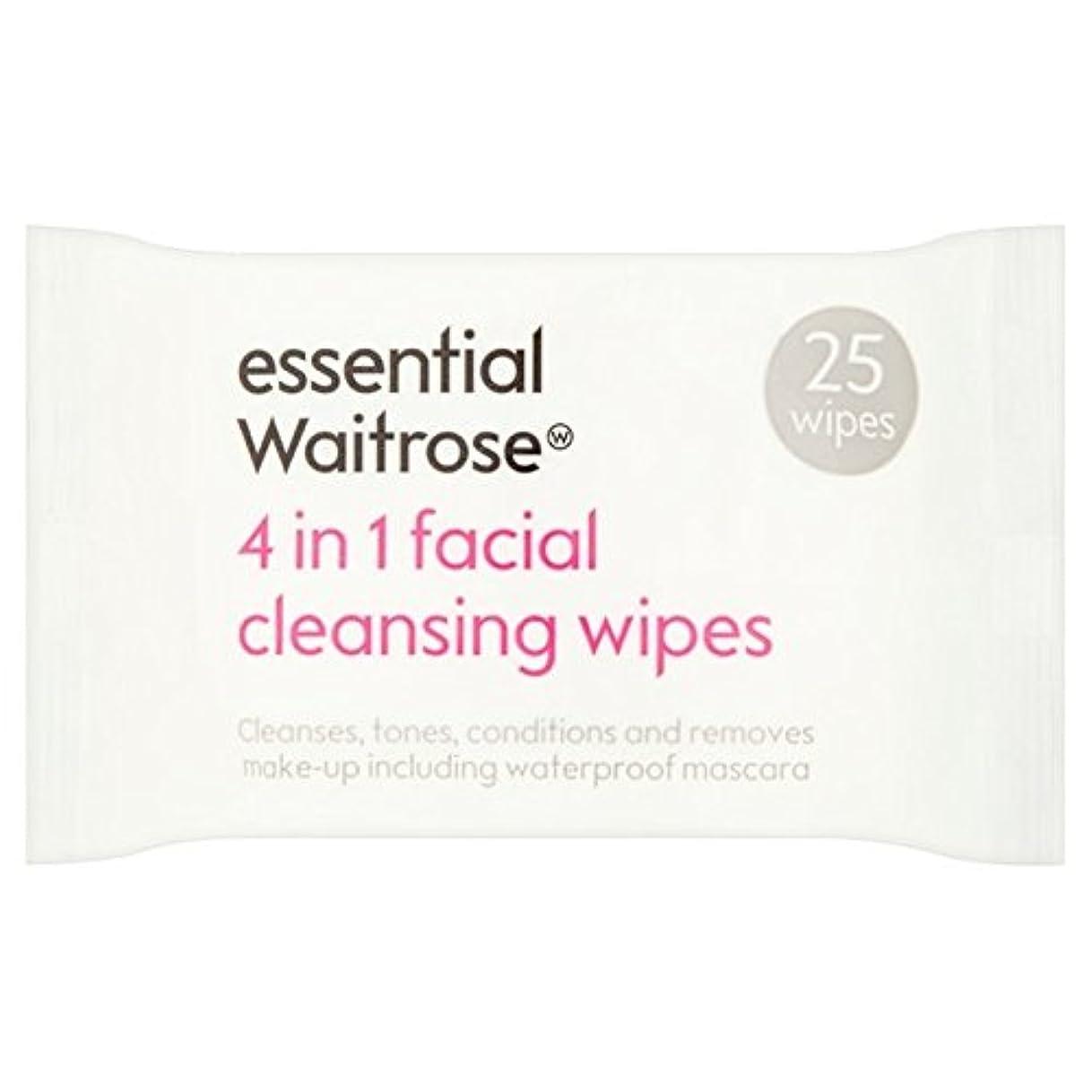 動的判決位置する3 1での顔のワイプパックあたり不可欠ウェイトローズ25 x4 - 3 in 1 Facial Wipes essential Waitrose 25 per pack (Pack of 4) [並行輸入品]