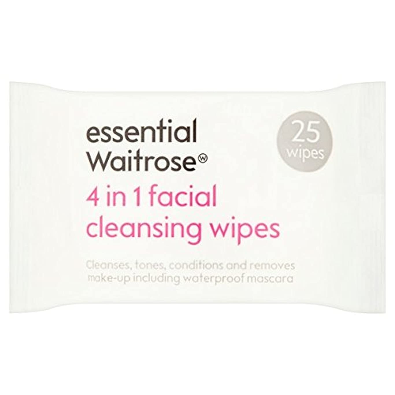 祝福無意味油3 in 1 Facial Wipes essential Waitrose 25 per pack (Pack of 6) - 3 1での顔のワイプパックあたり不可欠ウェイトローズ25 x6 [並行輸入品]