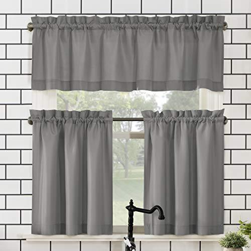 "No. 918 Martine Microfiber 3-Piece Kitchen Curtain Set, 54"" x 36"", Gray"