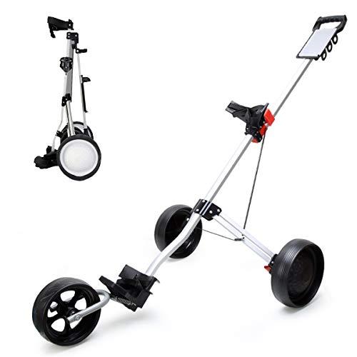 Ycrdtap Chariot de Golf léger Pliable à 3 Roues, Chariot de Golf Compact en Aluminium pour Homme, pour Golf Pro Lite (Blanc)