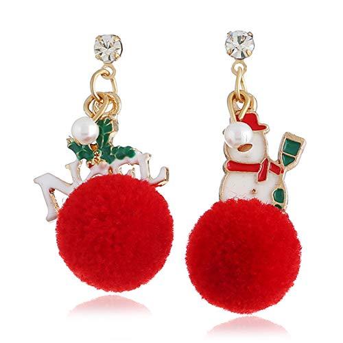 AllRing 1 par de pendientes de Navidad para mujer, 2019, diseño creativo, accesorio de Navidad, muñeco de nieve rojo con pompón, buen regalo de Navidad para tu familia y amigos.