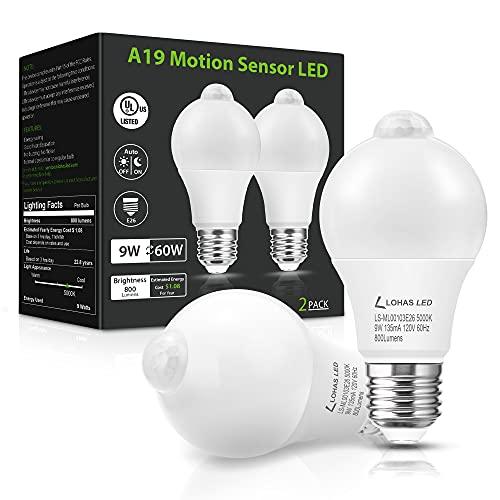 LOHAS Motion Sensor Light Bulbs, Dusk to Dawn Light Bulbs Outdoor, 9W 60W Equivalent Motion Activated LED Light Bulb, 5000K Daylight A19 Motion Sensor Light Indoor Outdoor, 2 Packs