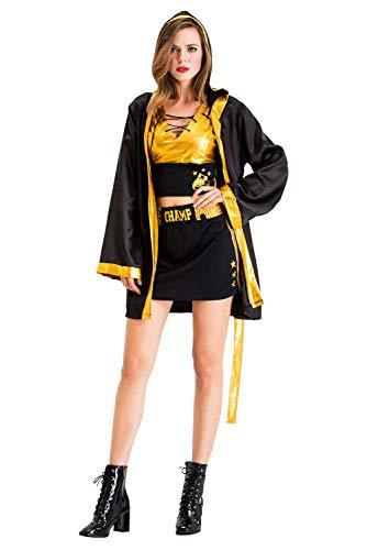 dingnengshop Disfraz de Boxeadora Animadora para Mujer Abrigo con Capucha Pantalon Corto del Color Amarillo Brillante para Halloween Fiesta Cosplay,XL
