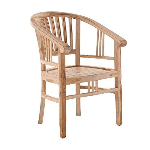SAM Teak-Holz Gartensessel Moreno, Stuhl mit Armlehnen aus Massivholz, für Balkon, Terrasse oder Garten