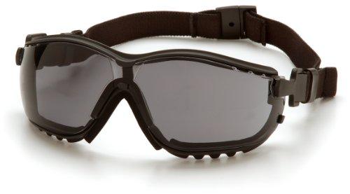 Pyramex Safety V2G GB1820ST - Visiera protettiva antipolvere da moto, da indossare con stanghette oppure laccio per la testa, lenti grigie anti-appannamento