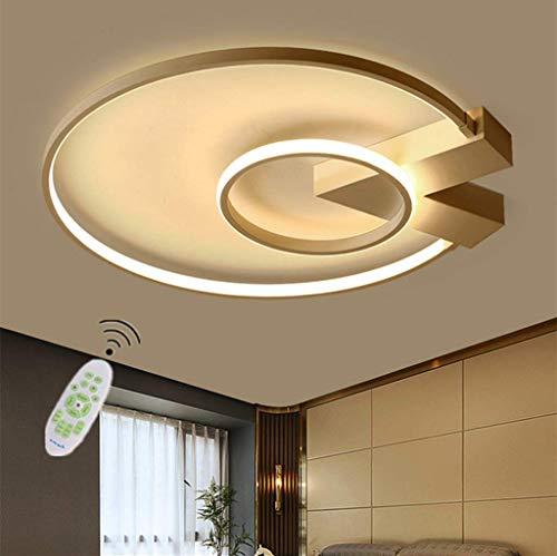 HZJ LED Modern Lámpara De Techo Sala De Estar Luz Techo Regulable Diseño Rectangular con Control Remoto Iluminación Colgante Dormitorio Mesa De Comedor Plafón Acrílico Metálico,Oro,62cm