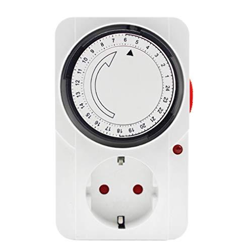 WEQQ Enchufe de temporización mecánico Interruptor de Temporizador programable de 24 Horas Enchufe Universal (Blanco regulación Alemana)