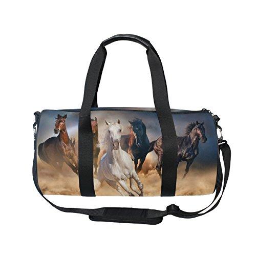 ALAZA Horse Herd in Desert Sand Storm Sports Gym Duffel Bag Travel Luggage Handbag for Men Women