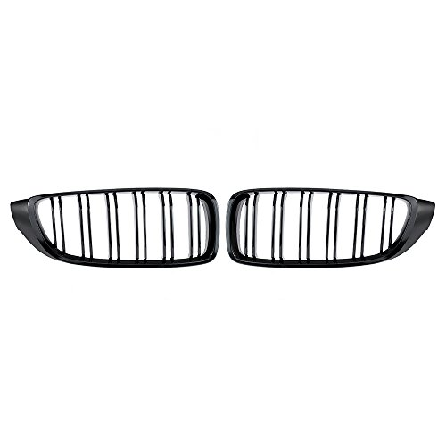 WXWDM Reja de riñón, para Cabriolet Coupe Doble Lamen M4 Sport Style Grill 1pair Gloss Black Frente F32 F33 F36 F82