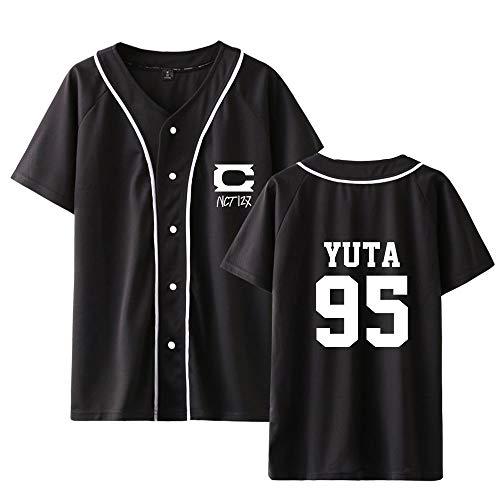 KPOP NCT 127 Neo Zone Camisetas Verano Top Camiseta Botón Béisbol Jersey Manga Corta de Impresión Tops para Los Fans Taeil HAECHAN JAEHYUN TAEYONG Mark YUTA WINWIN DOYOUNG Johnny JUNGWOO