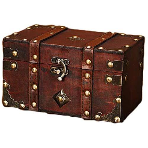 ZHANG Caja de Almacenamiento de Madera,Organizador de Caja de Almacenamiento de Joyería de Libro Grande,Caja de Tesoro Decorativa con Candado Old-Fashioned,Medium