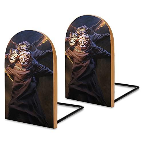Dark Soul - Sujetalibros de madera para estanterías, para escritorio de oficina, extremos antideslizantes para libros, películas, DVD, soporte de libros de 5.1 x 3.2 x 1.6 pulgadas